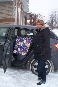 Alison delivering a Christmas basket last year.